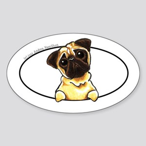 Fawn Pug Peeking Bumper Sticker (Oval)